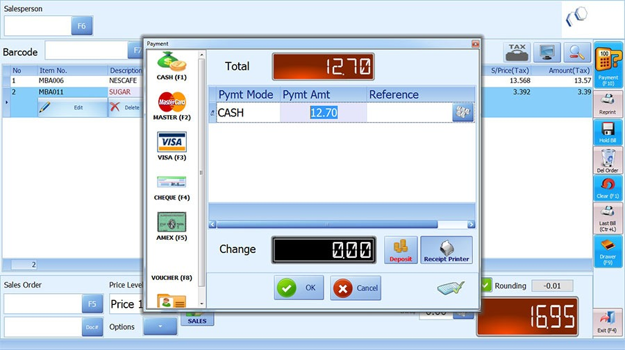 IRS food beverage payment screen