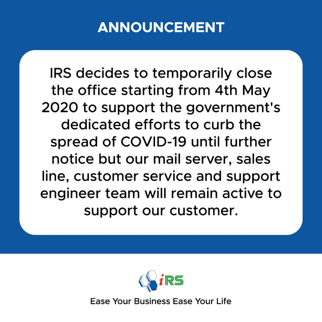 IRS Office Temporarily Close Starting From 4th May 2020